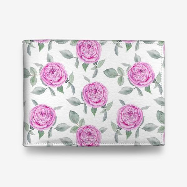 Кошелек «Розовые розы. Акварельный паттерн на белом фоне»