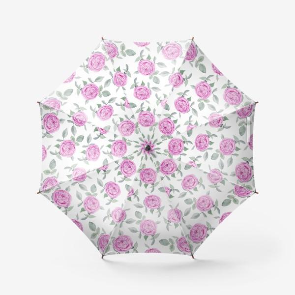 Зонт «Розовые розы. Акварельный паттерн на белом фоне»