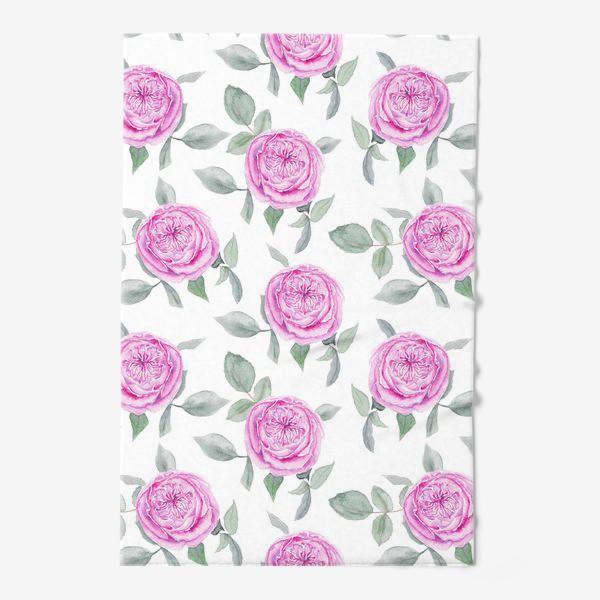 Полотенце «Розовые розы. Акварельный паттерн на белом фоне»