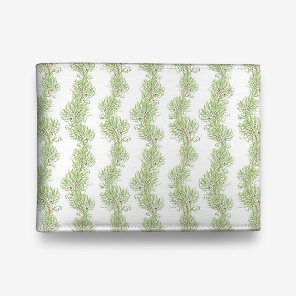 Кошелек «Можжевельник хвойное рождественское растение. Акварельный новогодний паттерн на белом фоне»
