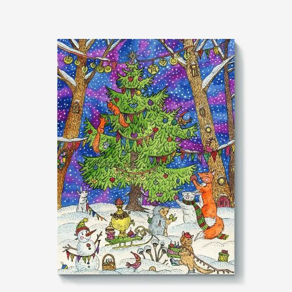 Холст «Новый год в сказочном лесу»