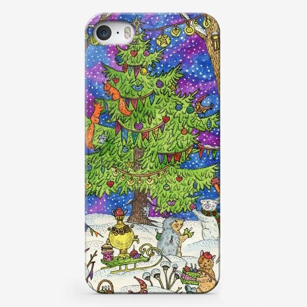 Чехол iPhone «Новый год в сказочном лесу»
