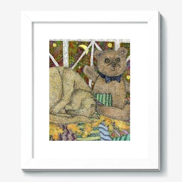 Картина «Кот и мишка тедди»