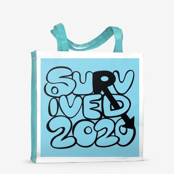 Сумка-шоппер «Survived2020 слоган в стиле граффити на синем фоне»