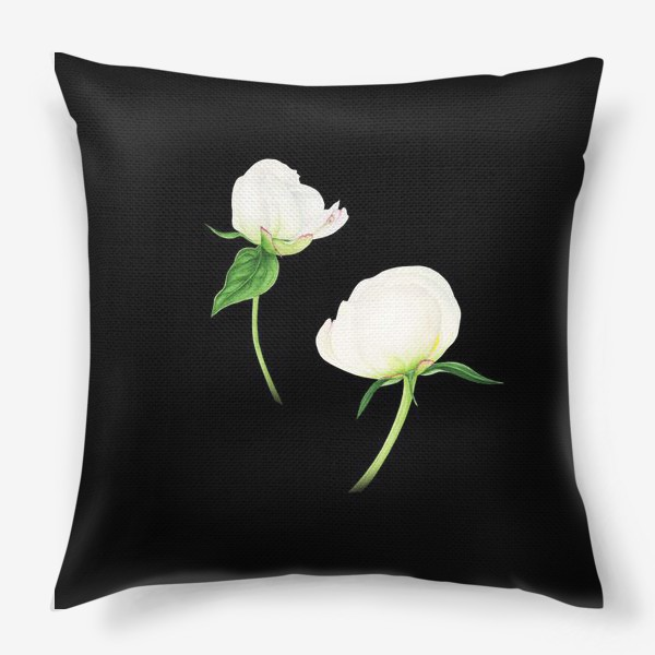 Подушка «Белые пионы на черном фоне»