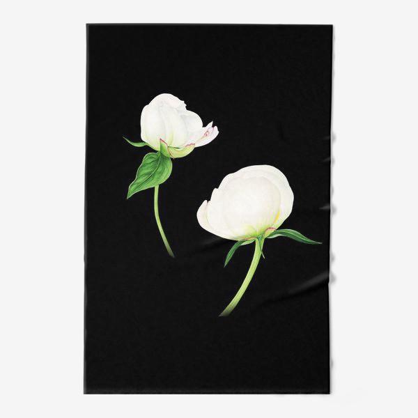 Полотенце «Белые пионы на черном фоне»