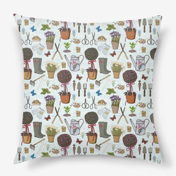Подушка «Радости садовода. Паттерн.»