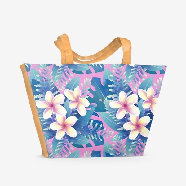 Пляжная сумка «экзотический паттерн на розовом фоне»
