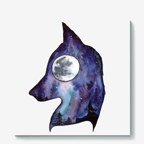 Холст «Волк. Луна и Космос.»