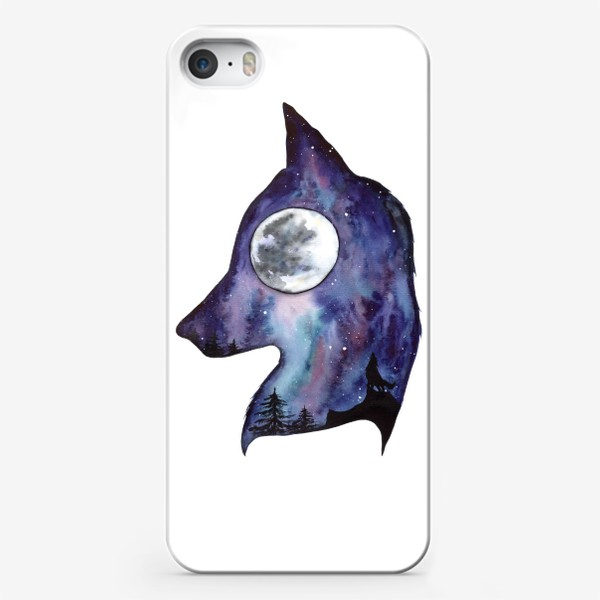 Чехол iPhone «Волк. Луна и Космос.»