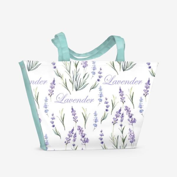 Пляжная сумка «Нежный лавандовый паттерн»