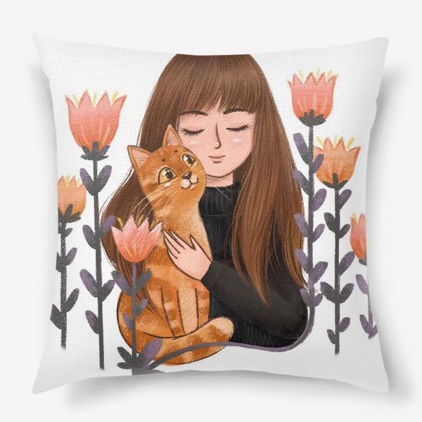 Подушка «Девушка с рыжим котом»