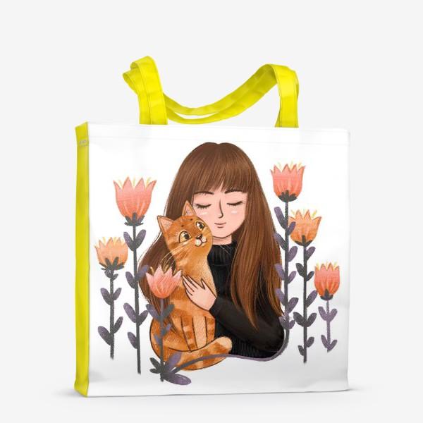 Сумка-шоппер «Девушка с рыжим котом»