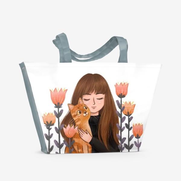 Пляжная сумка «Девушка с рыжим котом»