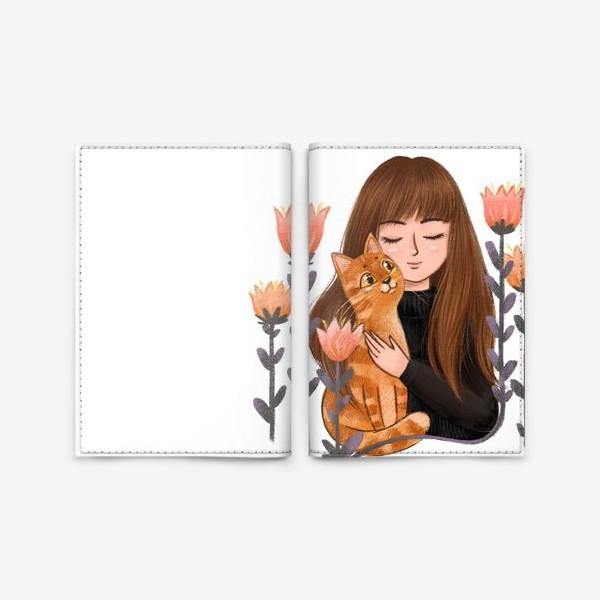 Обложка для паспорта «Девушка с рыжим котом»