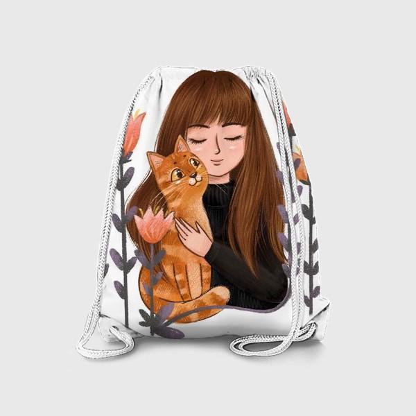 Рюкзак «Девушка с рыжим котом»