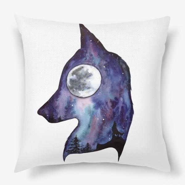 Подушка «Волк. Луна и Космос.»