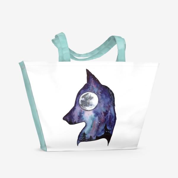 Пляжная сумка «Волк. Луна и Космос.»