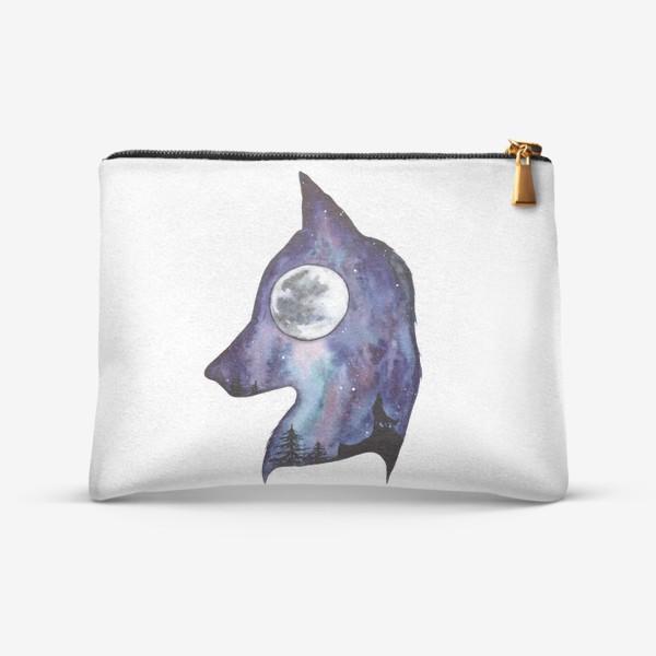Косметичка «Волк. Луна и Космос.»