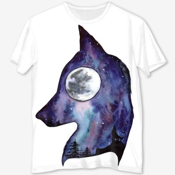 Футболка с полной запечаткой «Волк. Луна и Космос.»