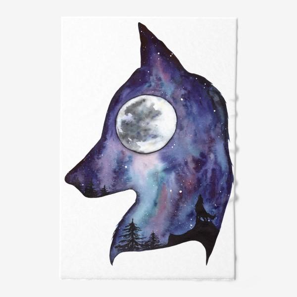 Полотенце «Волк. Луна и Космос.»