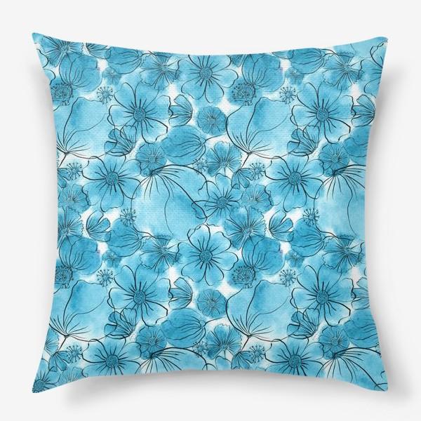 Подушка «Голубые цветы»