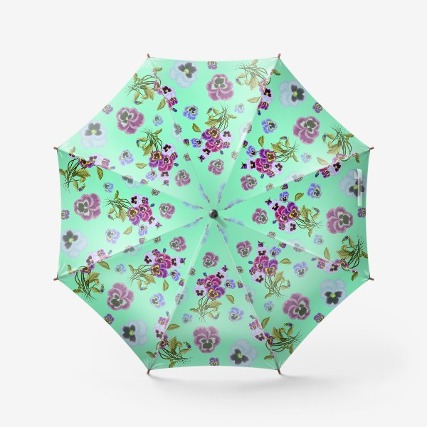 Зонт «Паттерн анютины глазки на бирюзовом»
