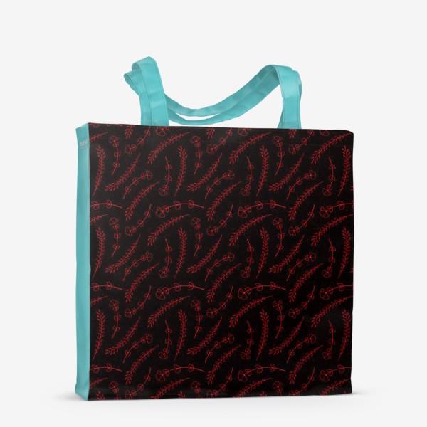 Сумка-шоппер «Цветочки на черном фоне»