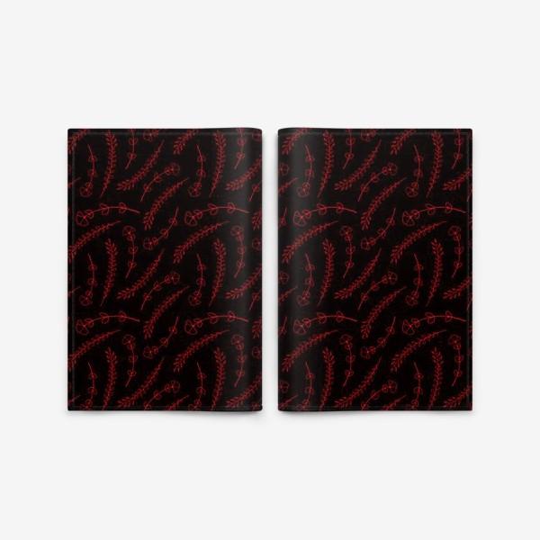Обложка для паспорта «Цветочки на черном фоне»