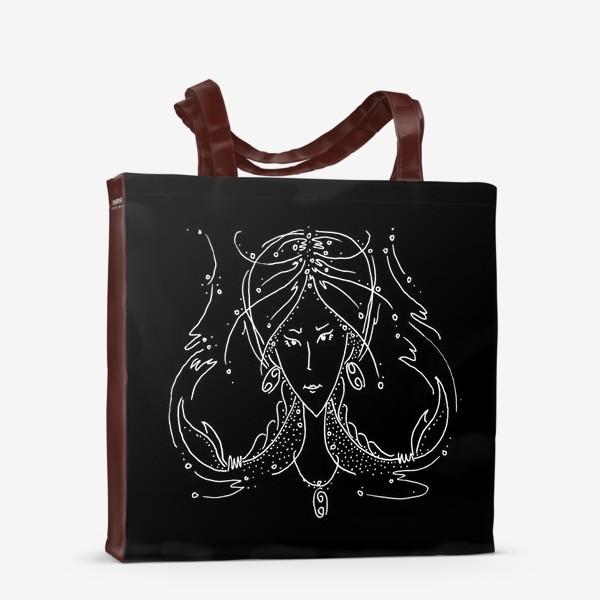 Сумка-шоппер «Рак зодиак черный»