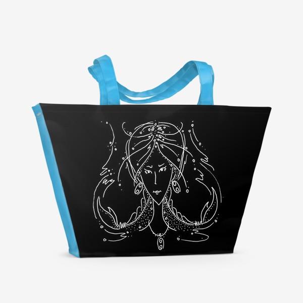Пляжная сумка «Рак зодиак черный»