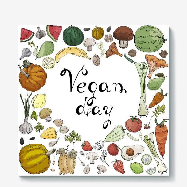 Холст «Коллаж из овощей, фруктов, ягод и зелени, посвященный Дню Вегана»