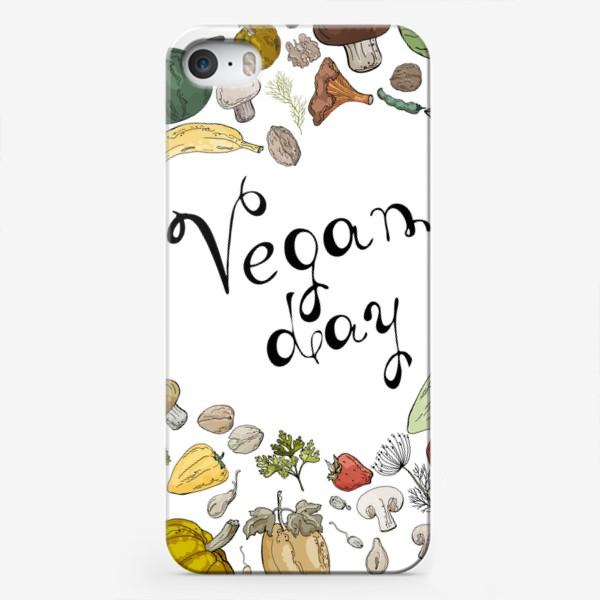 Чехол iPhone «Коллаж из овощей, фруктов, ягод и зелени, посвященный Дню Вегана»