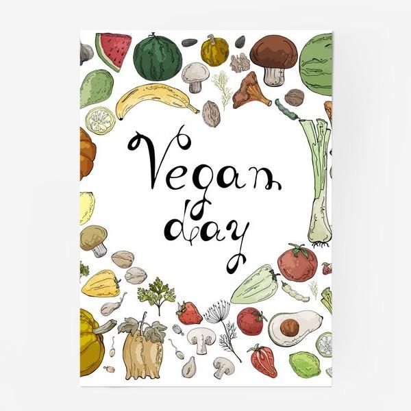 Постер «Коллаж из овощей, фруктов, ягод и зелени, посвященный Дню Вегана»