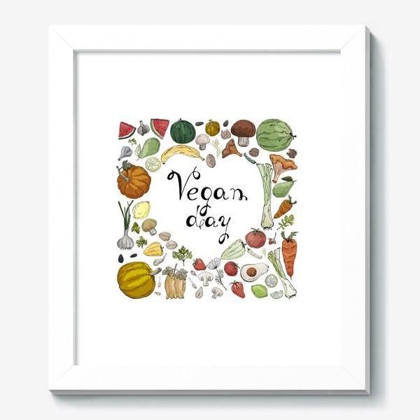 Картина «Коллаж из овощей, фруктов, ягод и зелени, посвященный Дню Вегана»