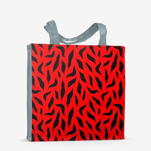 Сумка-шоппер «Черные перья на красном фоне. Красно-черный абстрактный узор. »