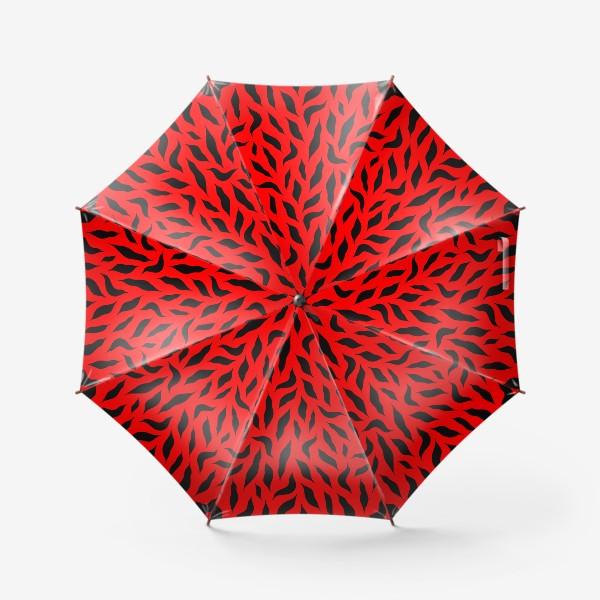 Зонт «Черные перья на красном фоне. Красно-черный абстрактный узор. »