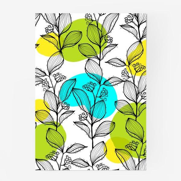 Постер «Растительный стильный орнамент с яркими пятнами»