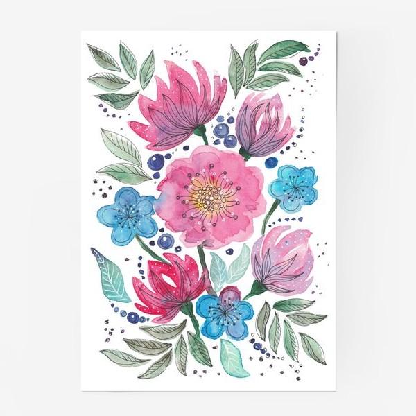 Постер «Акварельные цветы»