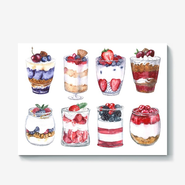 Холст «Десерты в стаканах»