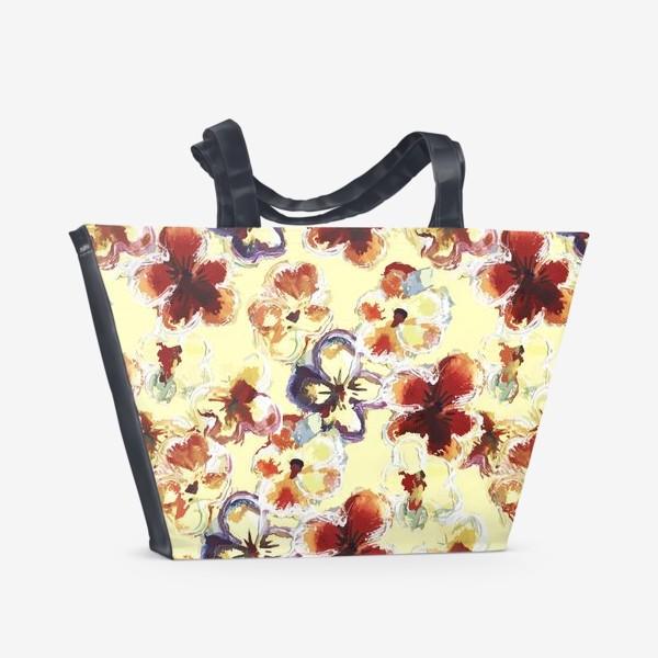 Пляжная сумка «Цветы. Анютины глазки акварелью.»