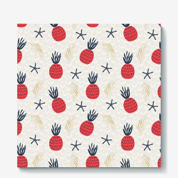 Холст «паттерн красные дудл  ананасы на сером фоне »