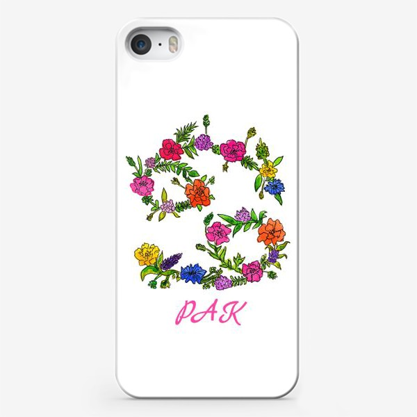 Чехол iPhone «Зодиак Рак. Цветы»