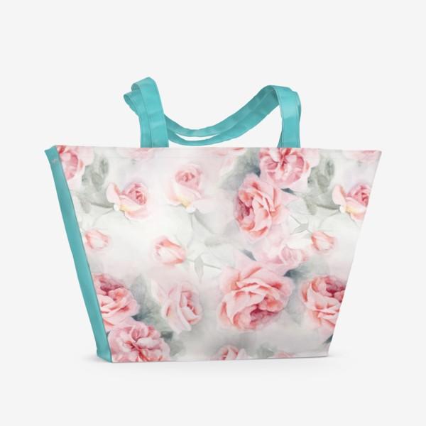 Пляжная сумка «Акварельные розы»