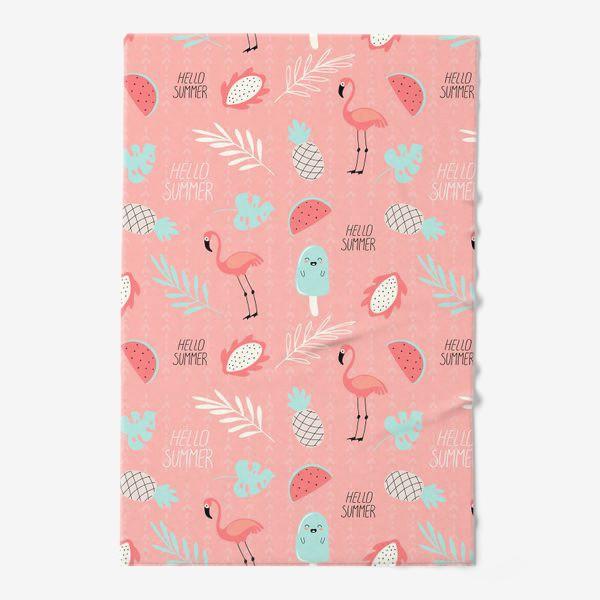 Полотенце «паттерн с розовыми фламинго фруктами и растениями в стиле дудл на розовом фоне »
