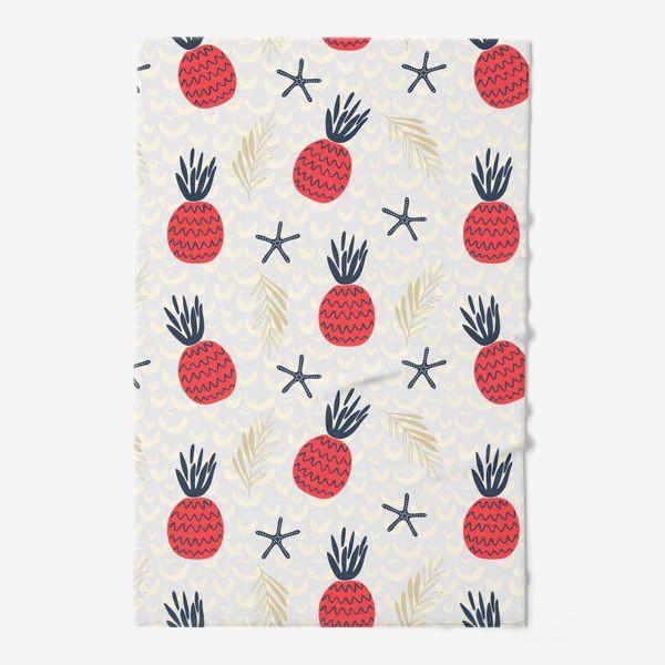 Полотенце «паттерн красные дудл  ананасы на сером фоне »