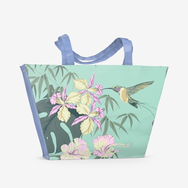 Пляжная сумка «Тропические цветы и колибри»
