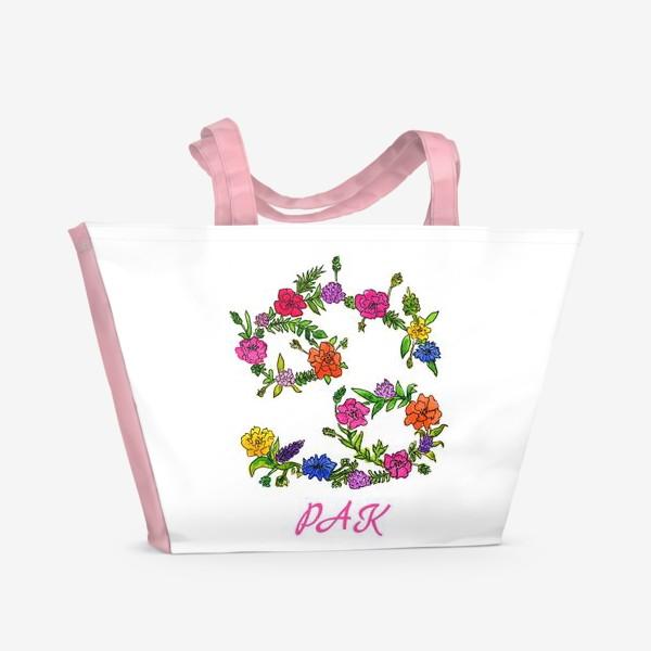 Пляжная сумка «Зодиак Рак. Цветы»