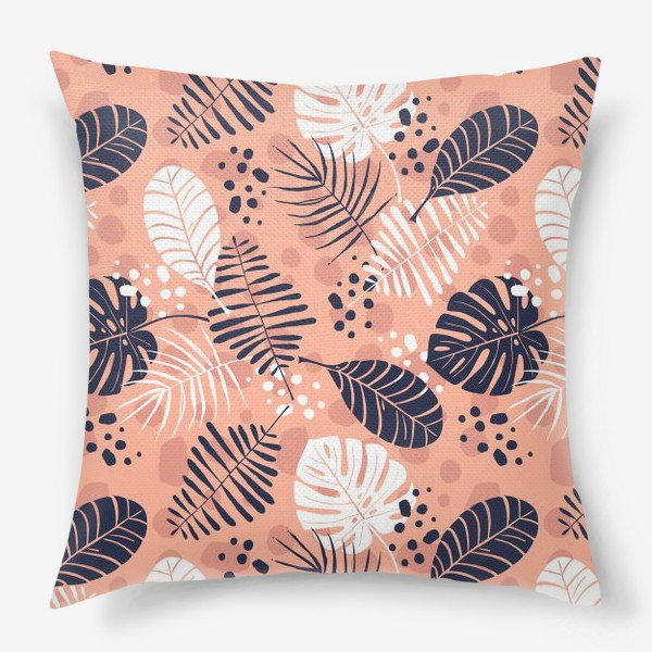 Подушка «паттерн с синими и белыми тропическими листьями на розовом фоне »