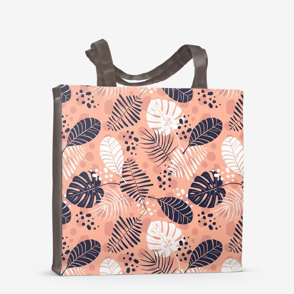 Сумка-шоппер «паттерн с синими и белыми тропическими листьями на розовом фоне »